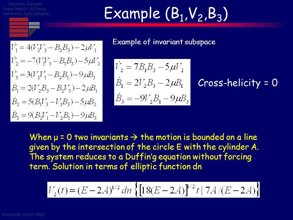 Example (B 1,V 2,B 3 ) Cross-helicity = 0 Example of invariant subspace When μ = 0 two invariants the motion is bounded on a line given by the interse