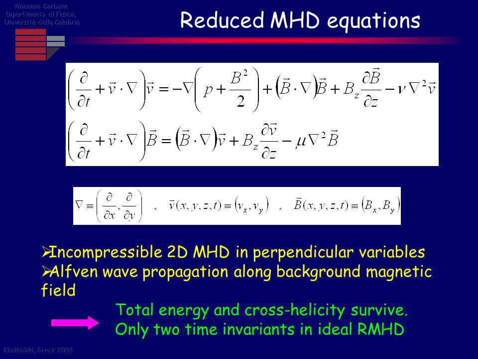 Reduced MHD equations Incompressible 2D MHD in perpendicular variables Alfven wave propagation along background magnetic field Total energy and cross-