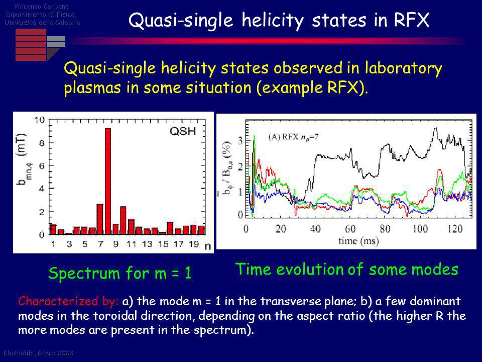 Quasi-single helicity states in RFX Quasi-single helicity states observed in laboratory plasmas in some situation (example RFX). Characterized by: a)