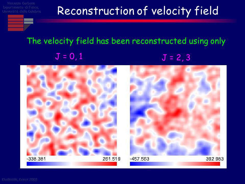 Reconstruction of velocity field The velocity field has been reconstructed using only J = 0, 1 J = 2, 3