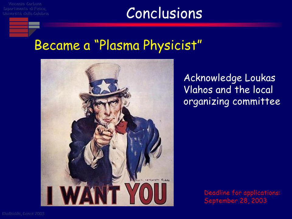 Conclusions Became a Plasma Physicist Deadline for applications: September 28, 2003 Acknowledge Loukas Vlahos and the local organizing committee