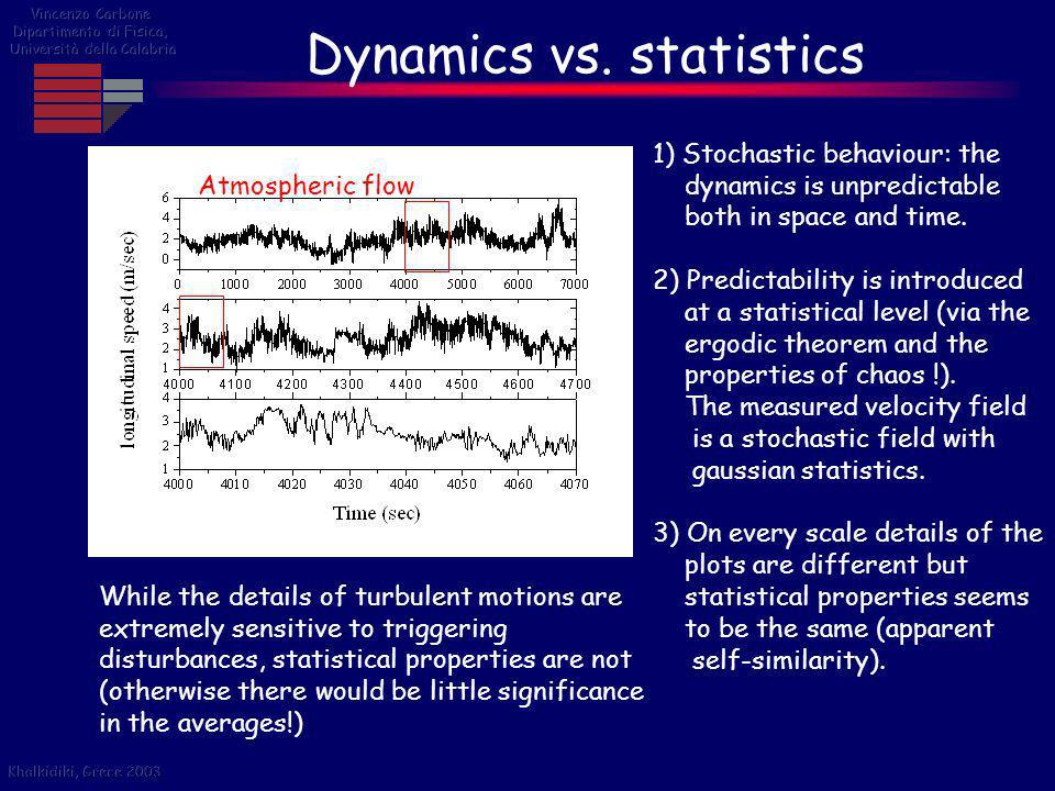 Dynamics vs. statistics While the details of turbulent motions are extremely sensitive to triggering disturbances, statistical properties are not (oth