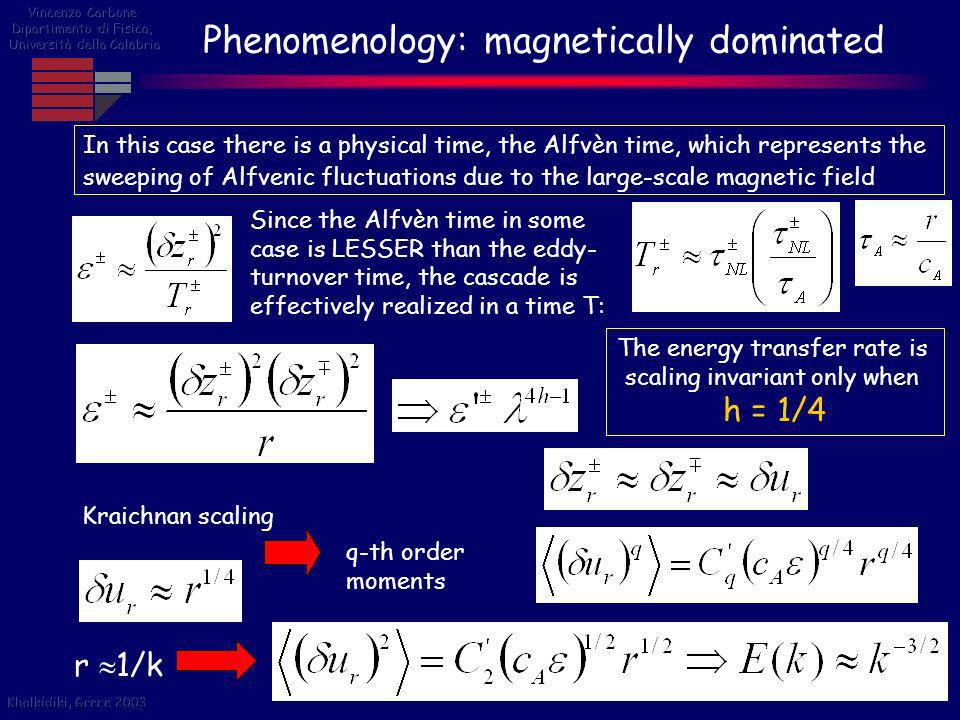 Phenomenology: magnetically dominated In this case there is a physical time, the Alfvèn time, which represents the sweeping of Alfvenic fluctuations d