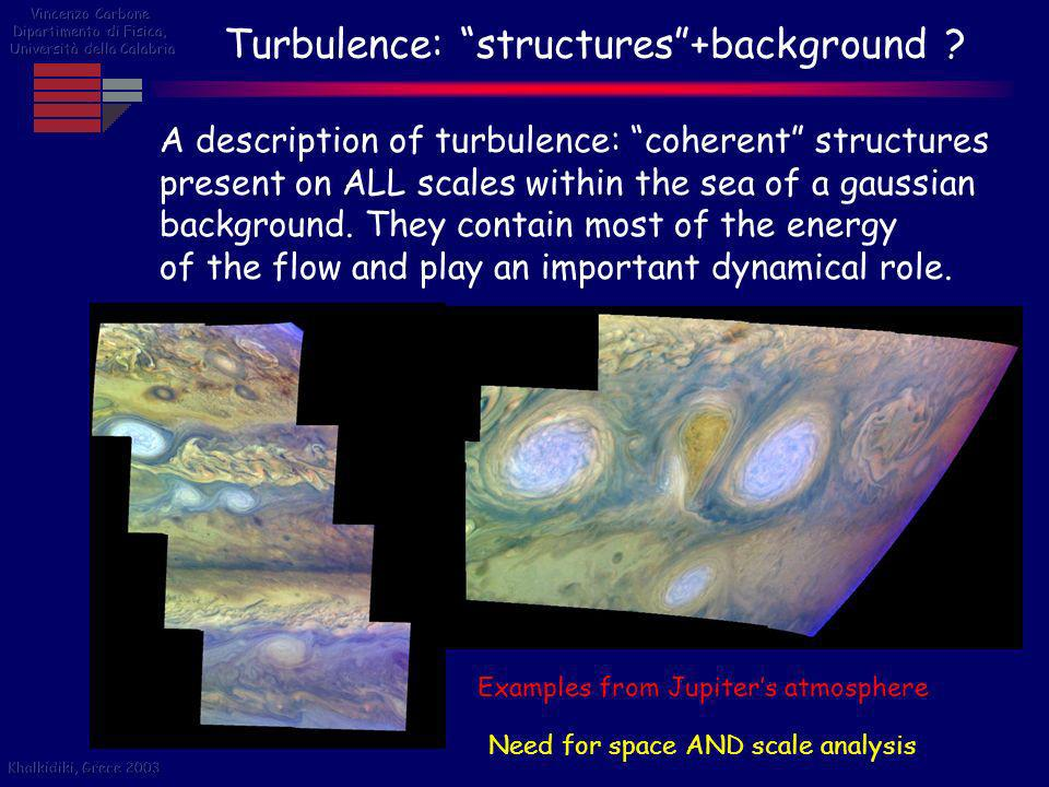 Turbulence: structures+background ? A description of turbulence: coherent structures present on ALL scales within the sea of a gaussian background. Th