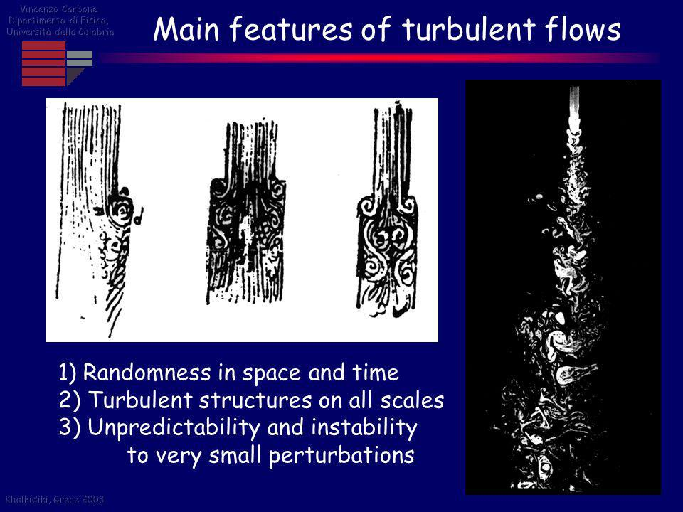 Main features of turbulent flows 1) Randomness in space and time 2) Turbulent structures on all scales 3) Unpredictability and instability to very sma