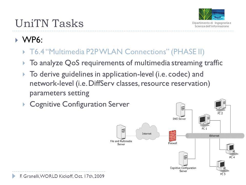 Dipartimento di Ingegneria e Scienza dellinformazione F. Granelli, WORLD Kickoff, Oct. 17th, 2009 UniTN Tasks WP6: T6.4 Multimedia P2P WLAN Connection