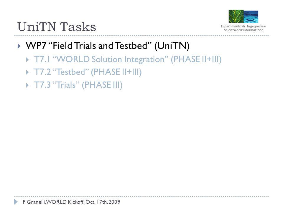 Dipartimento di Ingegneria e Scienza dellinformazione F. Granelli, WORLD Kickoff, Oct. 17th, 2009 UniTN Tasks WP7 Field Trials and Testbed (UniTN) T7.