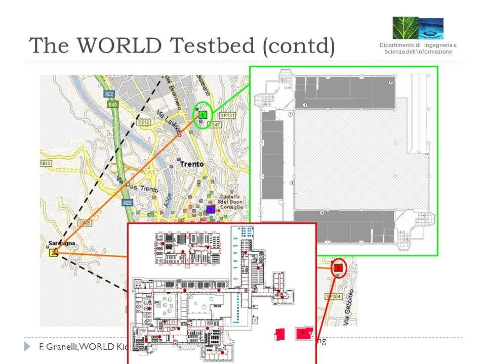 Dipartimento di Ingegneria e Scienza dellinformazione F. Granelli, WORLD Kickoff, Oct. 17th, 2009 The WORLD Testbed (contd) WOMEN Project Final Meetin