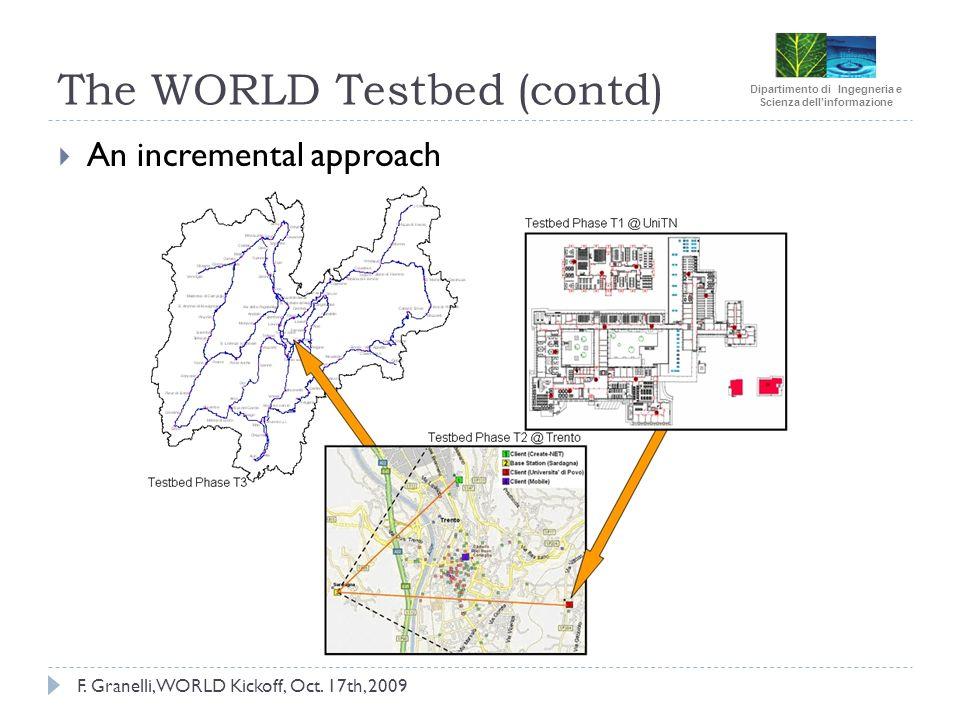 Dipartimento di Ingegneria e Scienza dellinformazione F. Granelli, WORLD Kickoff, Oct. 17th, 2009 The WORLD Testbed (contd) An incremental approach