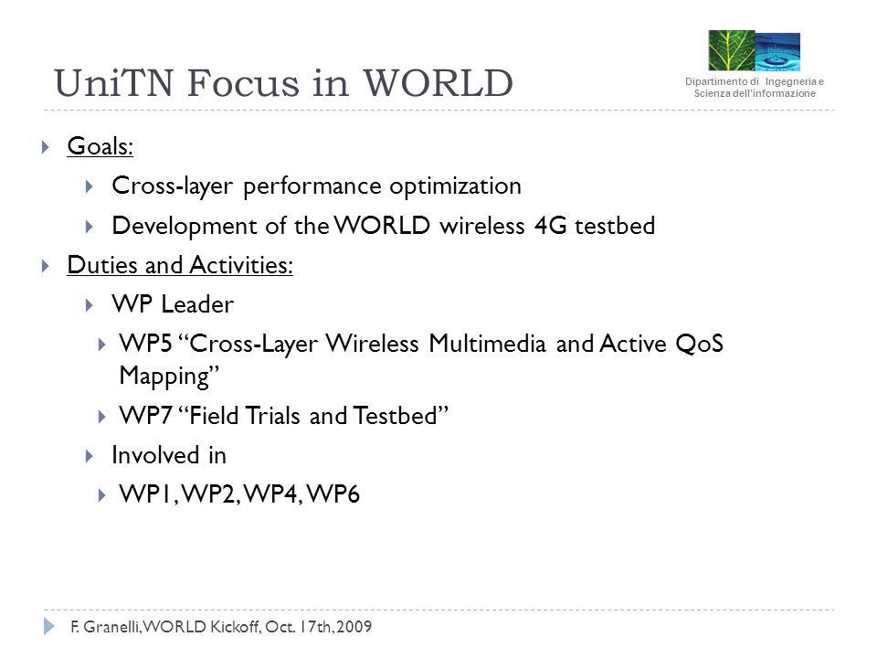 F. Granelli, WORLD Kickoff, Oct. 17th, 2009 UniTN Focus in WORLD Goals: Cross-layer performance optimization Development of the WORLD wireless 4G test