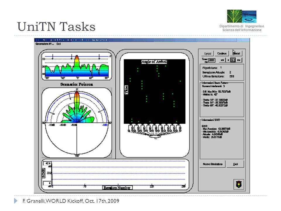 Dipartimento di Ingegneria e Scienza dellinformazione UniTN Tasks F. Granelli, WORLD Kickoff, Oct. 17th, 2009