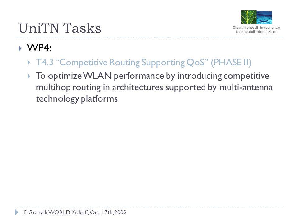Dipartimento di Ingegneria e Scienza dellinformazione F. Granelli, WORLD Kickoff, Oct. 17th, 2009 UniTN Tasks WP4: T4.3 Competitive Routing Supporting