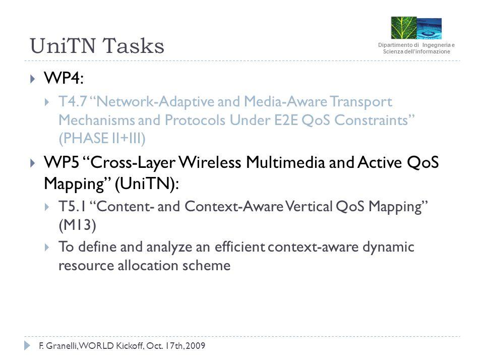Dipartimento di Ingegneria e Scienza dellinformazione F. Granelli, WORLD Kickoff, Oct. 17th, 2009 UniTN Tasks WP4: T4.7 Network-Adaptive and Media-Awa