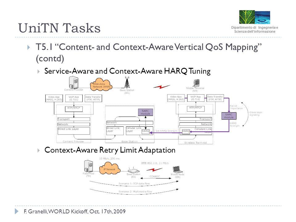 Dipartimento di Ingegneria e Scienza dellinformazione F. Granelli, WORLD Kickoff, Oct. 17th, 2009 UniTN Tasks T5.1 Content- and Context-Aware Vertical