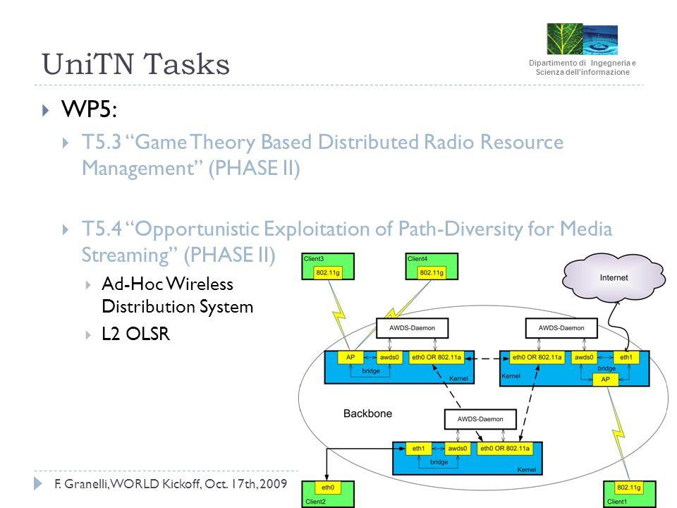 Dipartimento di Ingegneria e Scienza dellinformazione F. Granelli, WORLD Kickoff, Oct. 17th, 2009 UniTN Tasks WP5: T5.3 Game Theory Based Distributed