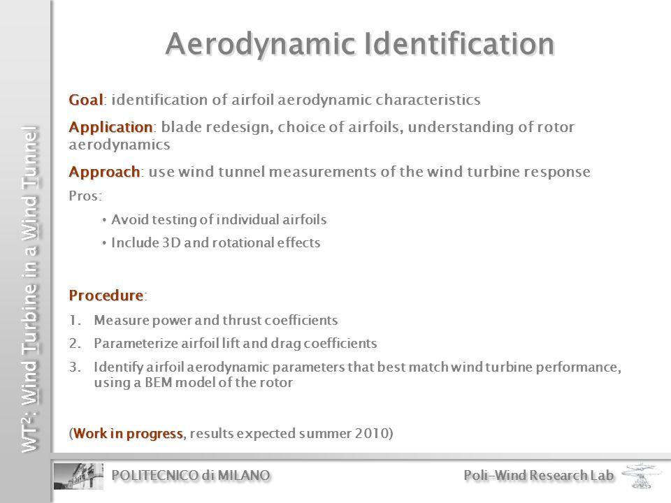 WT 2 : Wind Turbine in a Wind Tunnel POLITECNICO di MILANO Poli-Wind Research Lab Aerodynamic Identification Goal Goal: identification of airfoil aero