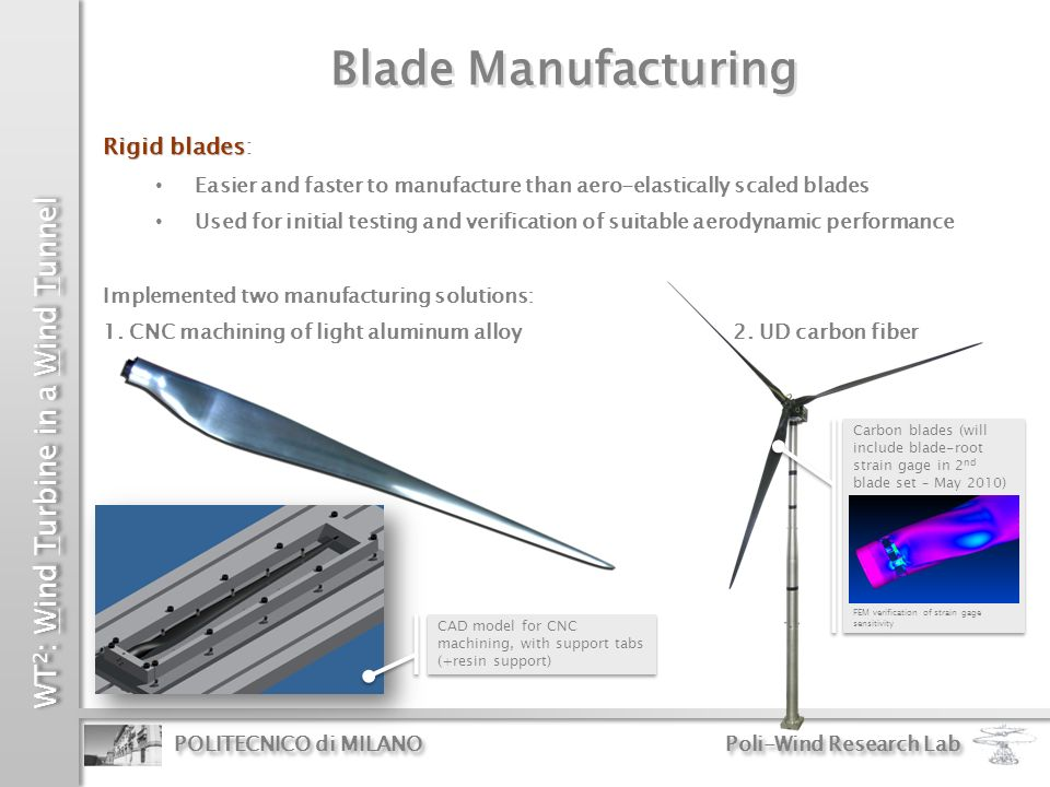 WT 2 : Wind Turbine in a Wind Tunnel POLITECNICO di MILANO Poli-Wind Research Lab Rigid blades Rigid blades: Easier and faster to manufacture than aer