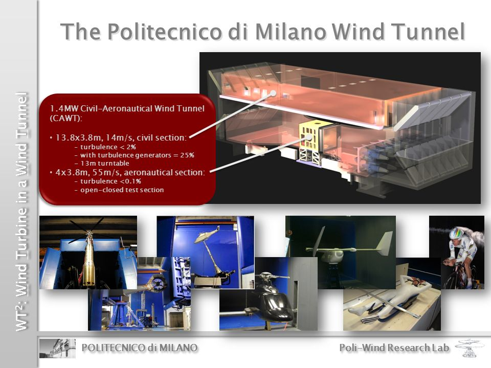 WT 2 : Wind Turbine in a Wind Tunnel POLITECNICO di MILANO Poli-Wind Research Lab Wind Measurement noise Simulation Environment Comprehensive aero-elastic simulation environment Comprehensive aero-elastic simulation environment: supports all phases of the wind turbine model design (loads, aero-elasticity, and control)