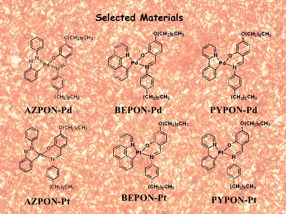 AZPON-Pd PYPON-Pt BEPON-PdPYPON-Pd AZPON-Pt BEPON-Pt Selected Materials
