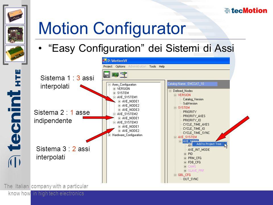 The Italian company with a particular know how in high tech electronics Motion Configurator Easy Configuration dei Sistemi di Assi Sistema 1 : 3 assi interpolati Sistema 2 : 1 asse indipendente Sistema 3 : 2 assi interpolati