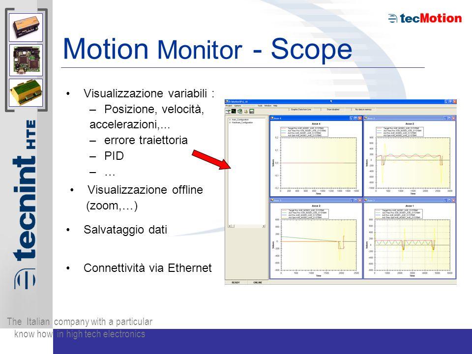 The Italian company with a particular know how in high tech electronics Motion Monitor - Scope Visualizzazione variabili : –P–Posizione, velocità, accelerazioni,...