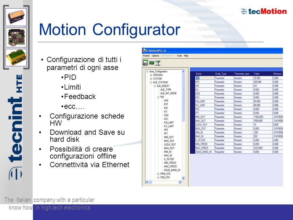 Motion Configurator Configurazione di tutti i parametri di ogni asse PID Limiti Feedback ecc….