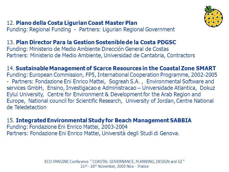 ECO-IMAGINE Conference COASTAL GOVERNANCE, PLANNING, DESIGN and GI 21 st - 26 th November, 2005 Nice - France 12.