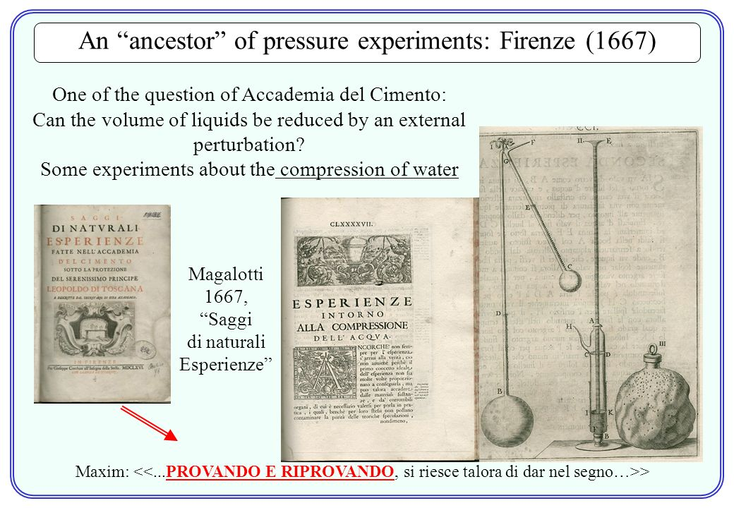 An ancestor of pressure experiments: Firenze (1667) Magalotti 1667, Saggi di naturali Esperienze One of the question of Accademia del Cimento: Can the volume of liquids be reduced by an external perturbation.