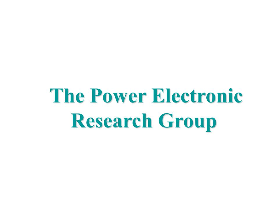 Politecnico di Bari, DEE, Power Electronics Research Group Marco Liserre liserre@ieee.org The Power Electronic Research Group The Power Electronic Res
