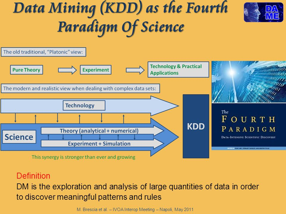 Data Mining (KDD) as the Fourth Paradigm Of Science Definition DM is the exploration and analysis of large quantities of data in order to discover meaningful patterns and rules M.
