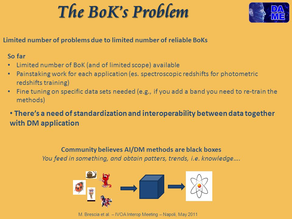 The BoKs Problem Limited number of problems due to limited number of reliable BoKs So far Limited number of BoK (and of limited scope) available Painstaking work for each application (es.
