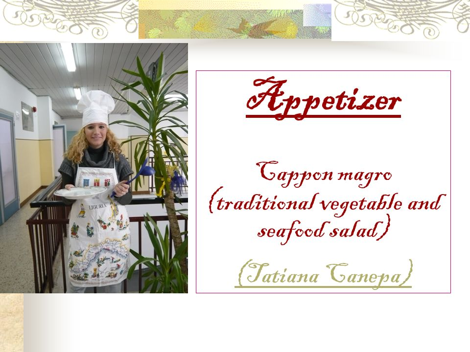 Appetizer Cappon magro (traditional vegetable and seafood salad) (Tatiana Canepa)