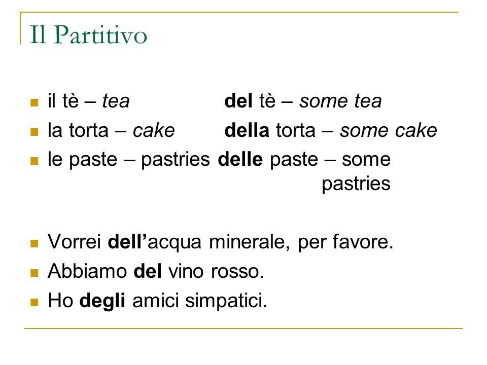 Il Partitivo il tè – teadel tè – some tea la torta – cake della torta – some cake le paste – pastries delle paste – some pastries Vorrei dellacqua min