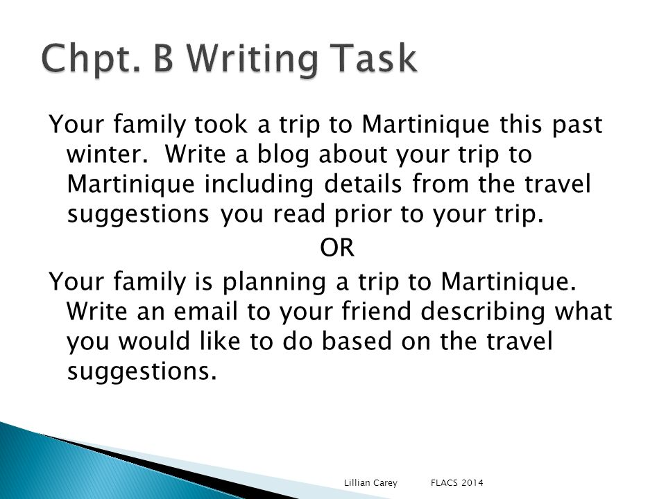 Your family took a trip to Martinique this past winter. Write a blog about your trip to Martinique including details from the travel suggestions you r