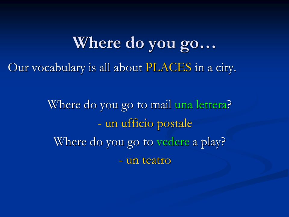 Where do you go… Our vocabulary is all about PLACES in a city.