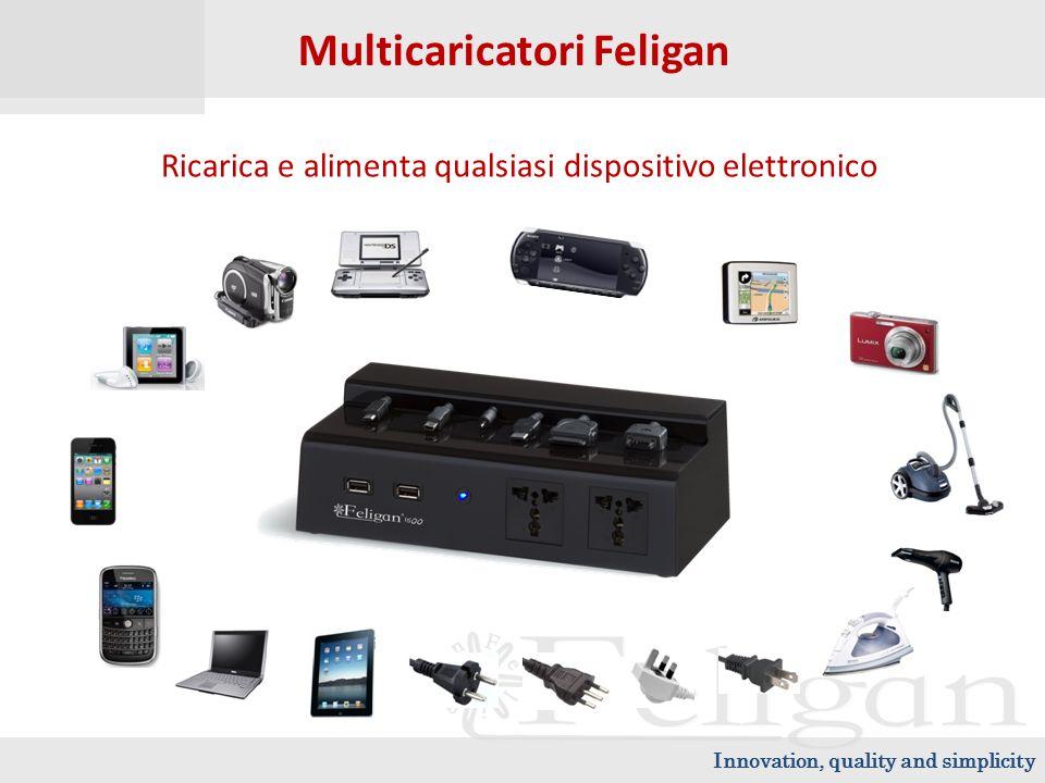 Innovation, quality and simplicity Multicaricatori Feligan Ricarica e alimenta qualsiasi dispositivo elettronico