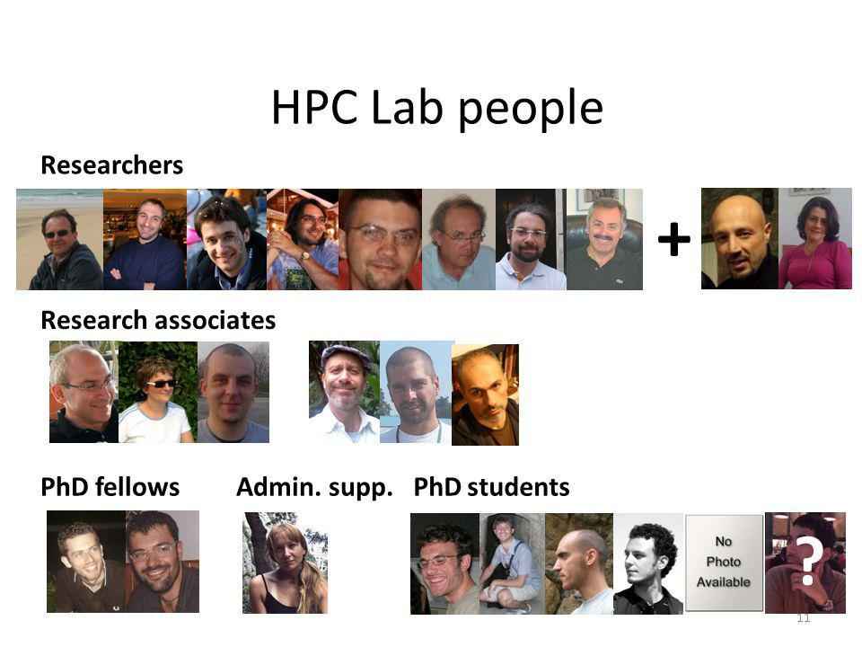HPC Lab people Researchers PhD fellows Research associates Admin. supp. + 11 PhD students ?