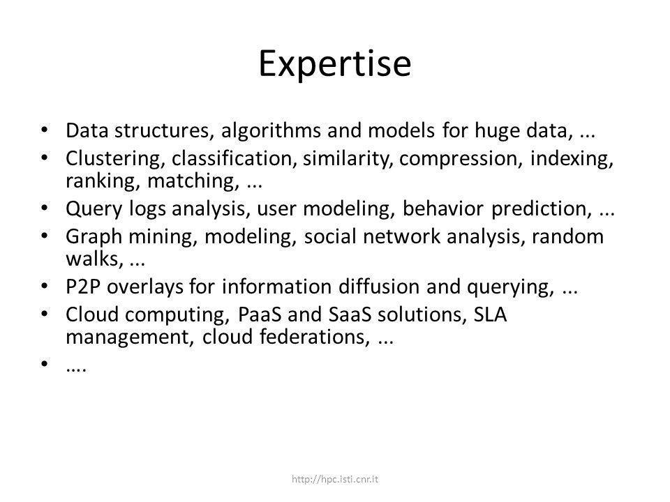 Expertise Data structures, algorithms and models for huge data,...