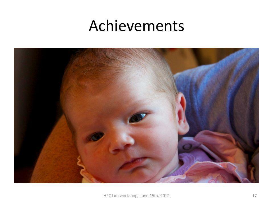 Achievements HPC Lab workshop, June 15th, 201217