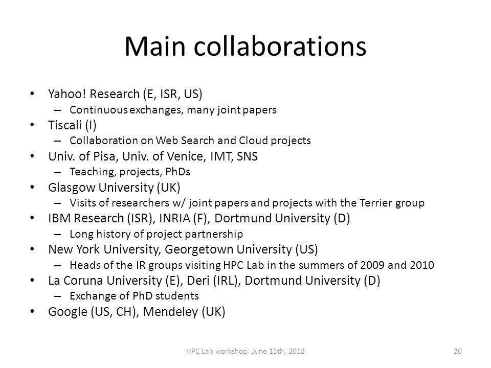 Main collaborations Yahoo.