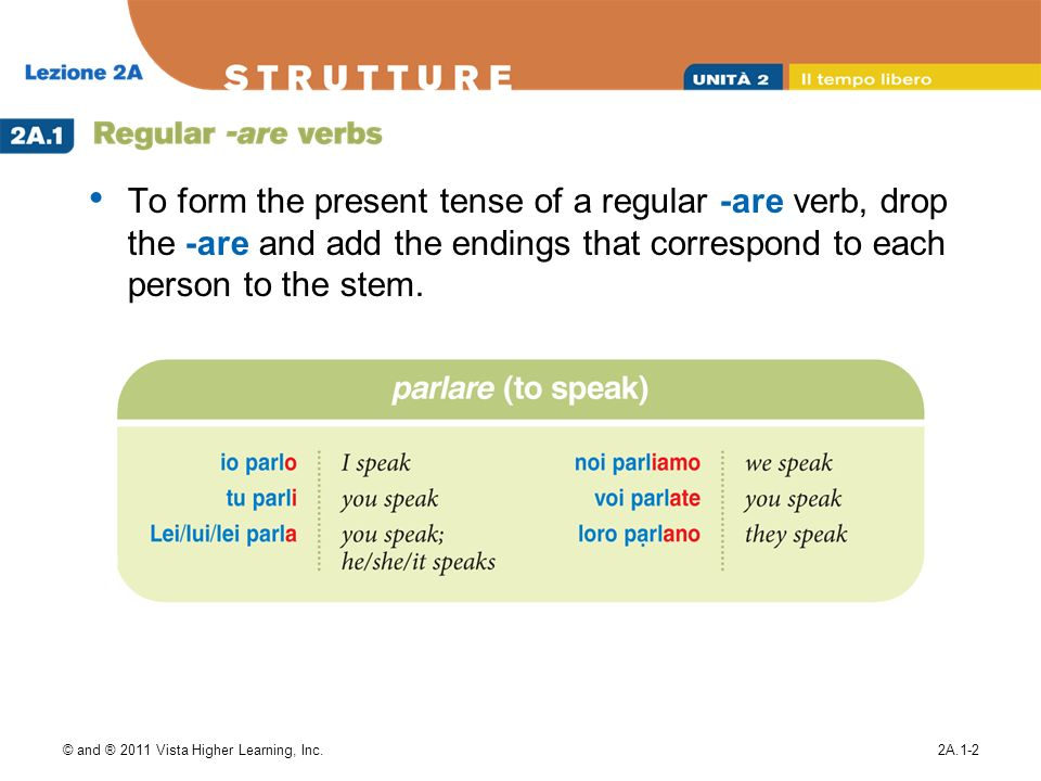 © and ® 2011 Vista Higher Learning, Inc.2A.1-2 To form the present tense of a regular -are verb, drop the -are and add the endings that correspond to