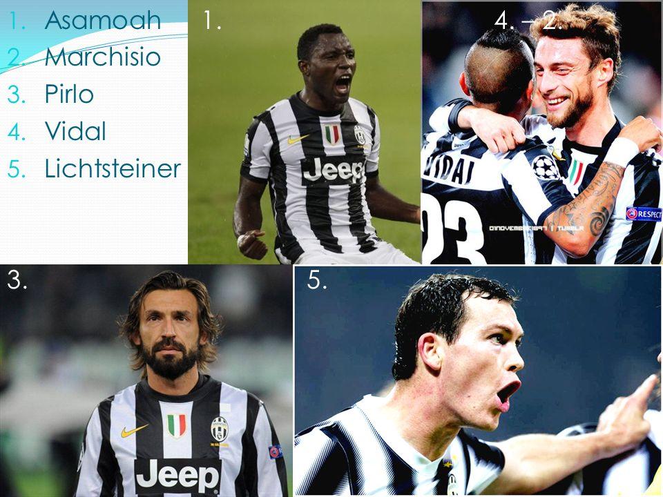1. Asamoah 1. 4. – 2. 2. Marchisio 3. Pirlo 4. Vidal 5. Lichtsteiner 3. 5.