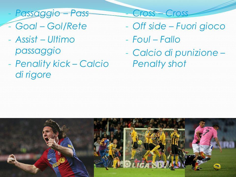 - Passaggio – Pass - Goal – Gol/Rete - Assist – Ultimo passaggio - Penality kick – Calcio di rigore - Cross – Cross - Off side – Fuori gioco - Foul –