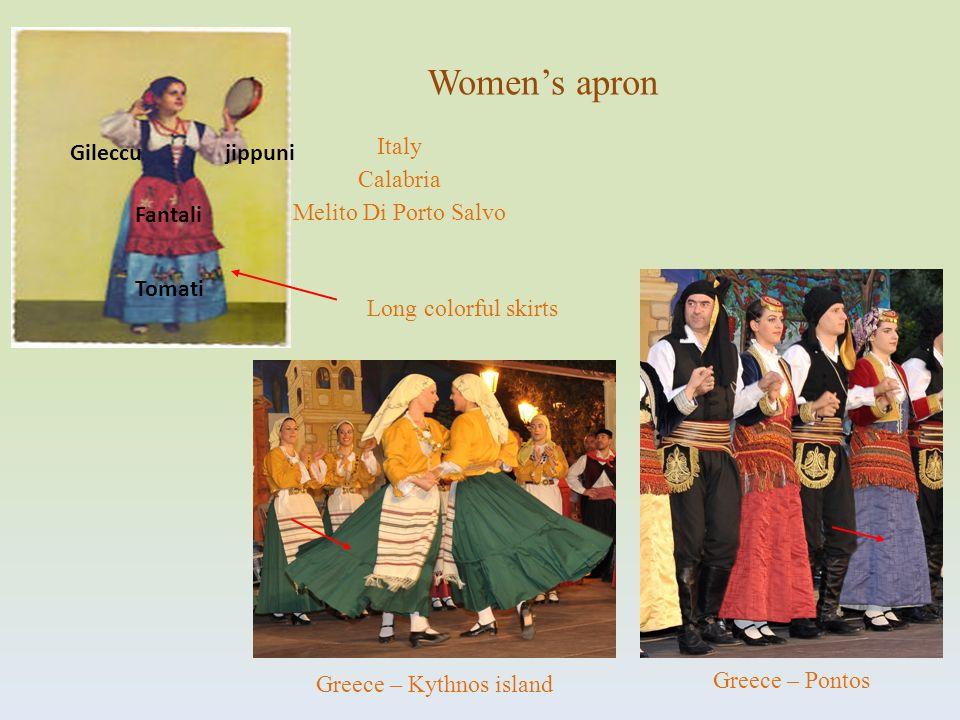 Italy Calabria Melito Di Porto Salvo Tomati Fantali jippuniGileccu Womens apron Greece – Kythnos island Greece – Pontos Long colorful skirts