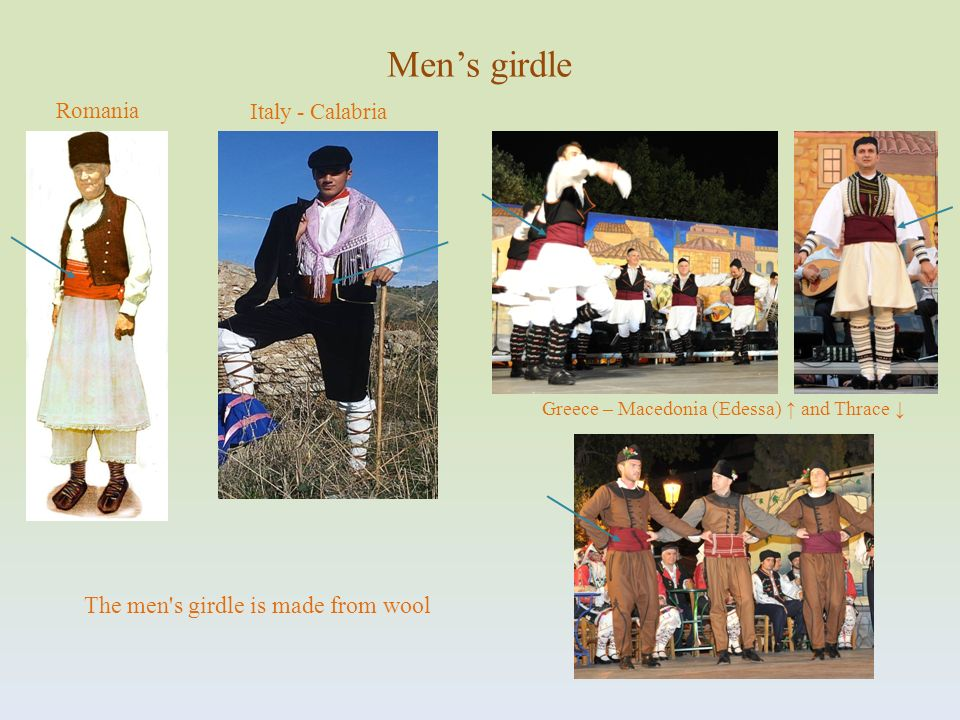 Romania Mens girdle Greece – Macedonia (Edessa) and Thrace The men's girdle is made from wool Italy - Calabria
