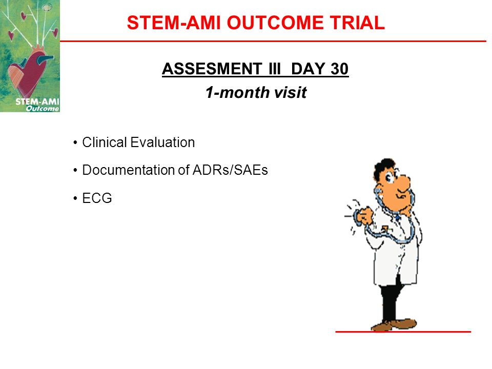 STEM-AMI OUTCOME TRIAL ASSESMENT III DAY 30 1-month visit Clinical Evaluation Documentation of ADRs/SAEs ECG