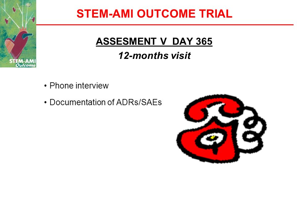 STEM-AMI OUTCOME TRIAL ASSESMENT V DAY 365 12-months visit Phone interview Documentation of ADRs/SAEs
