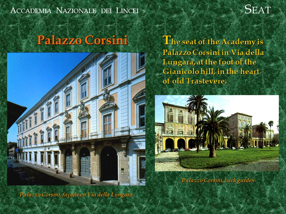 A CCADEMIA N AZIONALE DEI L INCEI Palazzo Corsini S EAT T he seat of the Academy is Palazzo Corsini in Via della Lungara, at the foot of the Gianicolo hill, in the heart of old Trastevere.