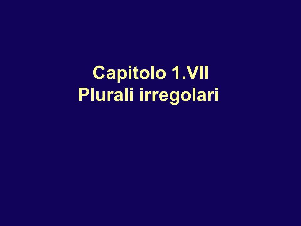 Capitolo 1.VII Plurali irregolari