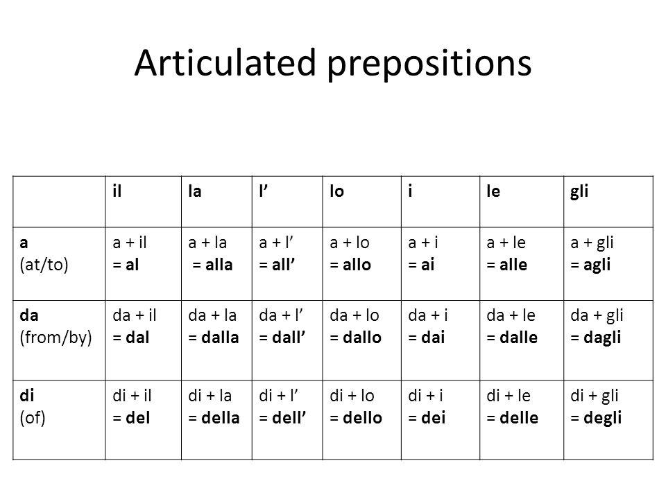 Articulated prepositions illalloilegli a (at/to) a + il = al a + la = alla a + l = all a + lo = allo a + i = ai a + le = alle a + gli = agli da (from/
